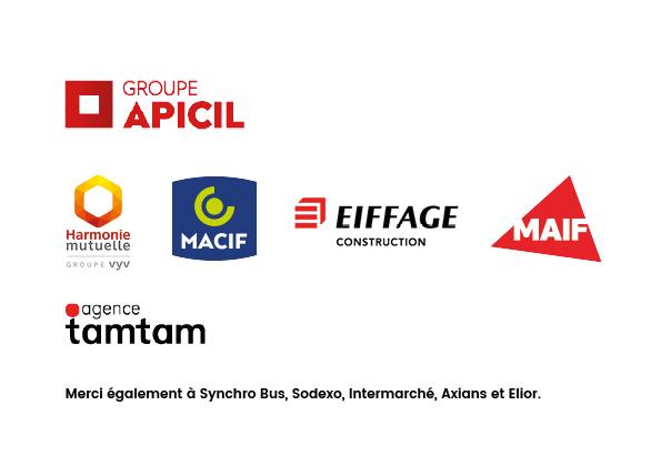 Partenaires APF France handicap Lumignons du Cœur 2019 Fête des Lumières APICIL Harmonie mutuelle Macif Eiffage construction Synchro Bus