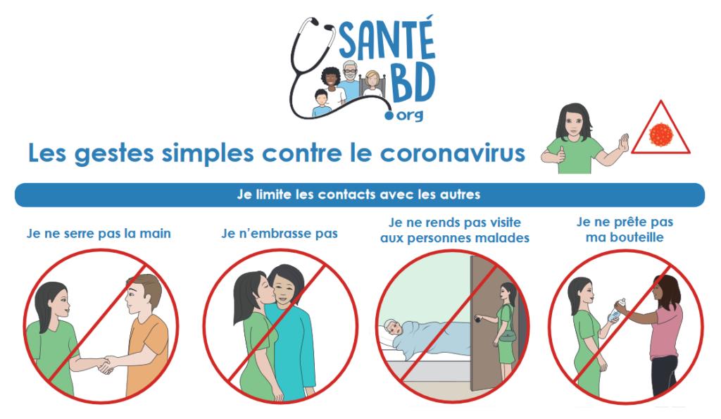 les gestes simples contre le coronavirus COVID 19 FALC lanage facile à lire et à comprendre APF France handicap