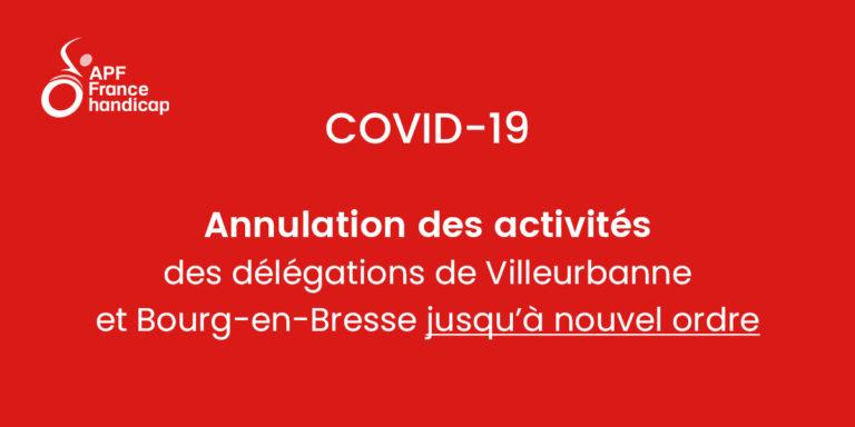 covid 19 coronavirus annulation des activités délégations Bourg-en-Bresse et Villerubanne APF France handicap